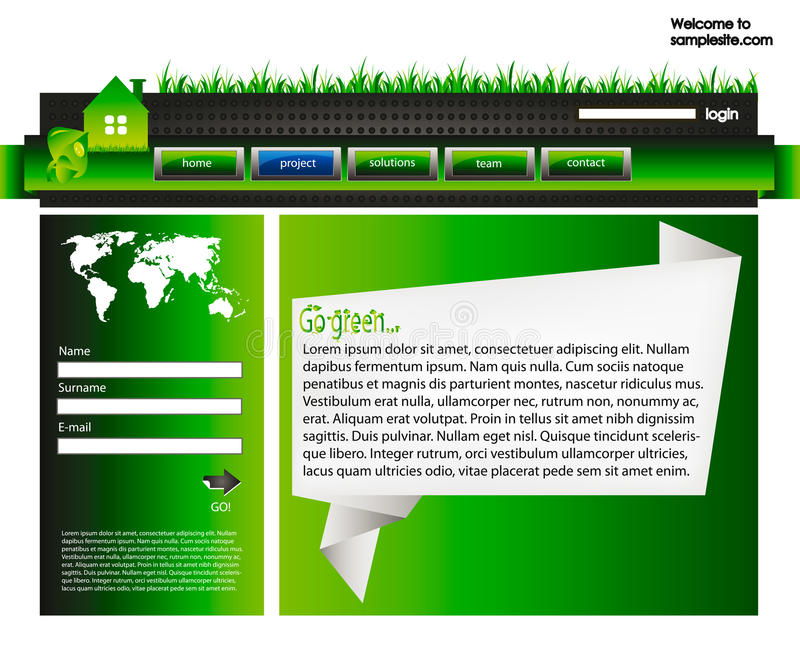 Web site design template 37. Web site design template for company with green background, white origami frame, arrow and world map stock illustration