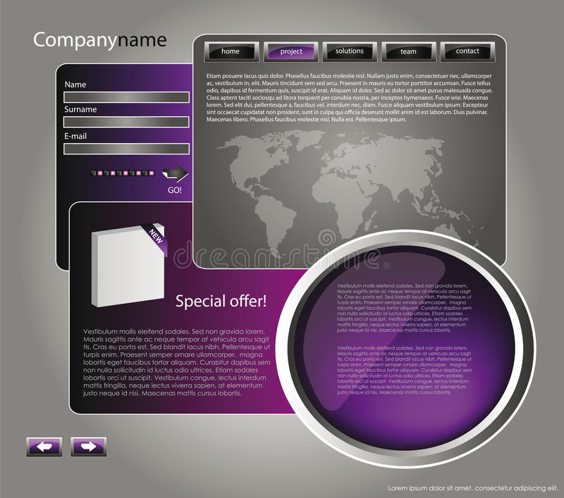 Web site design template 46. Web site design template for company with purple background, white frame, arrows and world map royalty free illustration