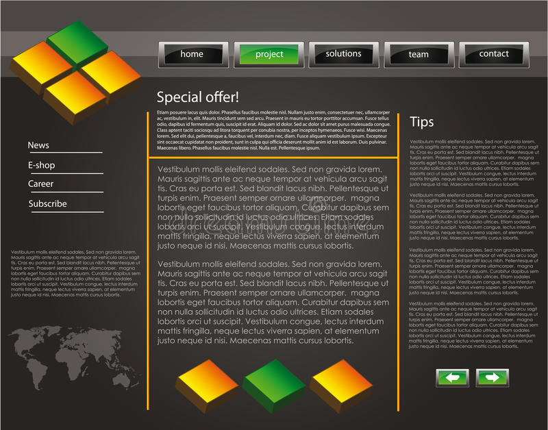 Web site design template 47. Web site design template for company with dark background, 3d cubes and world map stock illustration