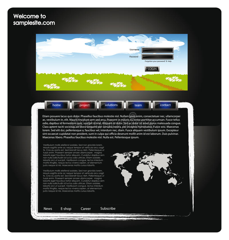 Web site design template 57. Vector web site for company webdesign with dark background, world map, glossy buttons and summer landscape royalty free illustration