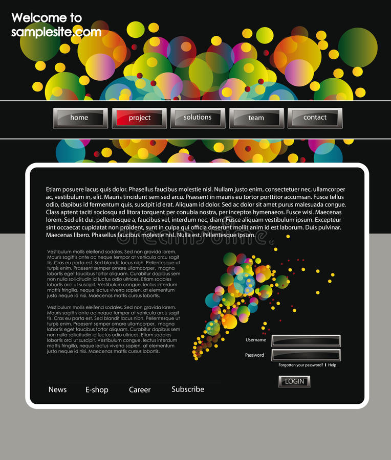 Web site design template 60. Vector web site for company webdesign with dark background, balls and glossy buttons stock illustration