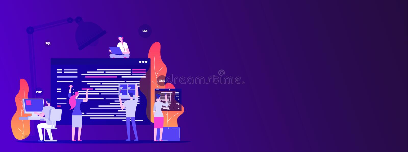 Web site development. Designers and programers create corporate site - empty space vector concept royalty free illustration