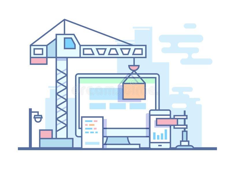 Web site development. Project site construct, development and build, line vector illustration stock illustration