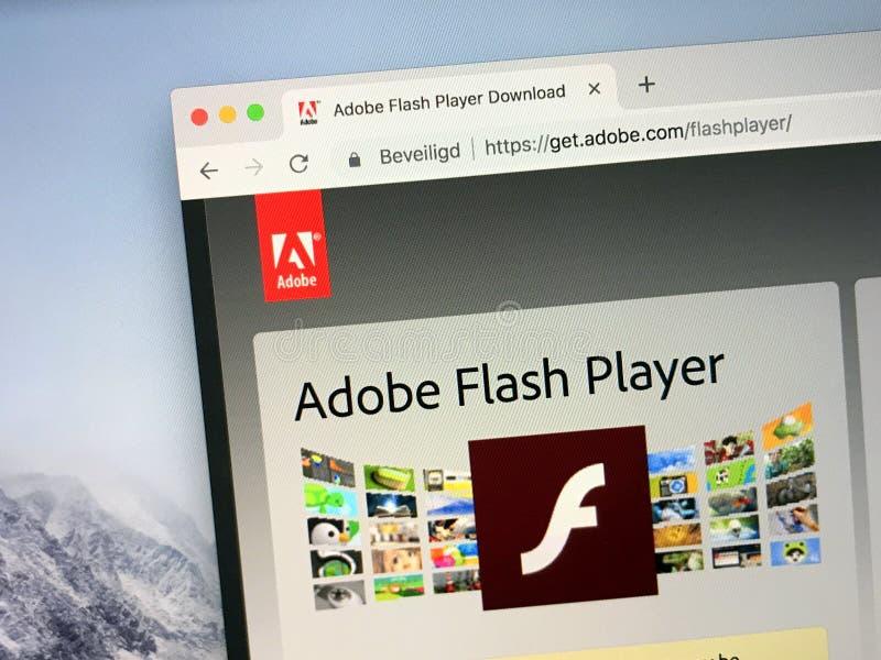 Web site do jogador do flash de Adobe fotografia de stock