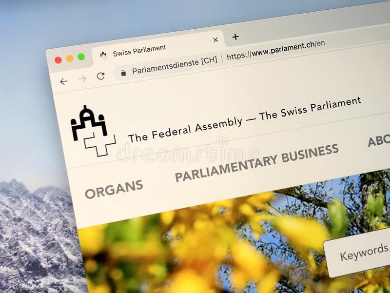 Web site do parlamento suíço do oor federal suíço do conjunto imagem de stock