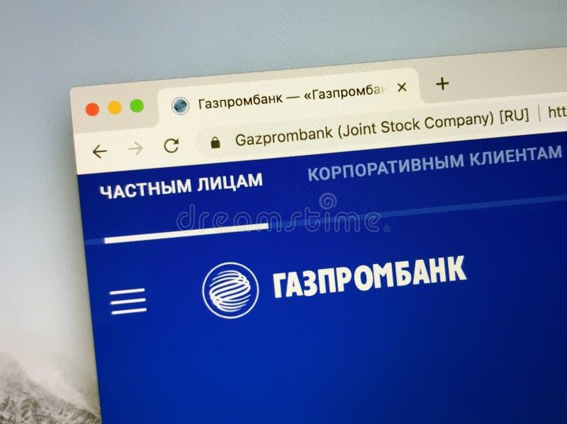 Web site do russo do Gazprombank imagens de stock