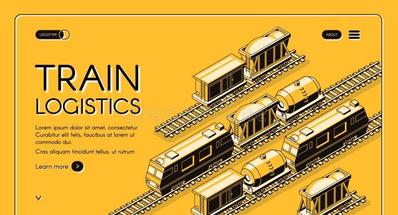 Web site do vetor da empresa do transporte de frete da estrada de ferro ilustração stock
