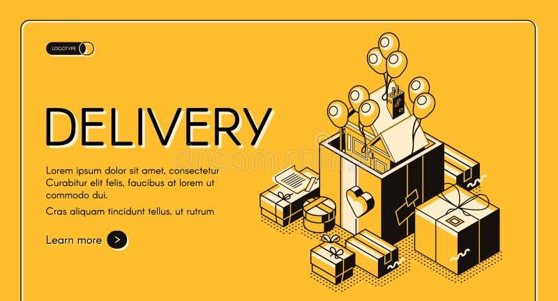 Web site do vetor do serviço de entrega dos presentes de época natalícia ilustração do vetor