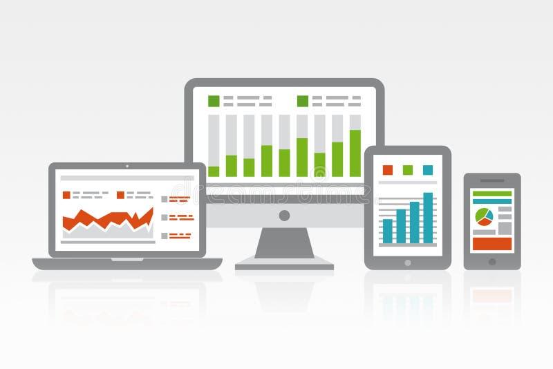 Web site e conceito móvel da analítica imagem de stock