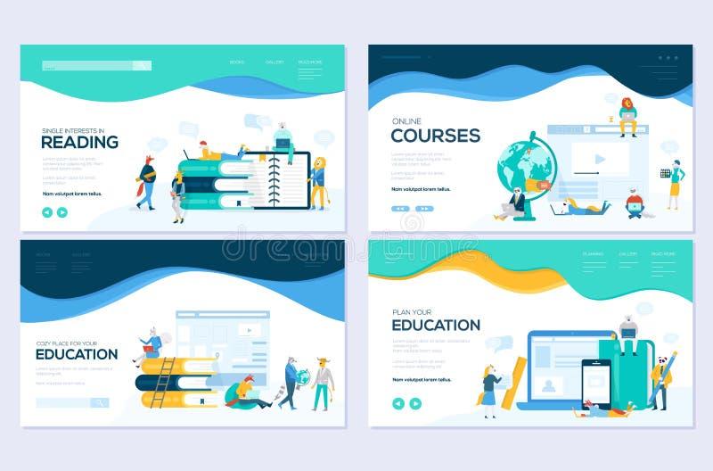 Web site e conceitos móveis da ilustração do desenvolvimento do Web site Ajuste dos moldes do projeto do página da web para curso ilustração royalty free