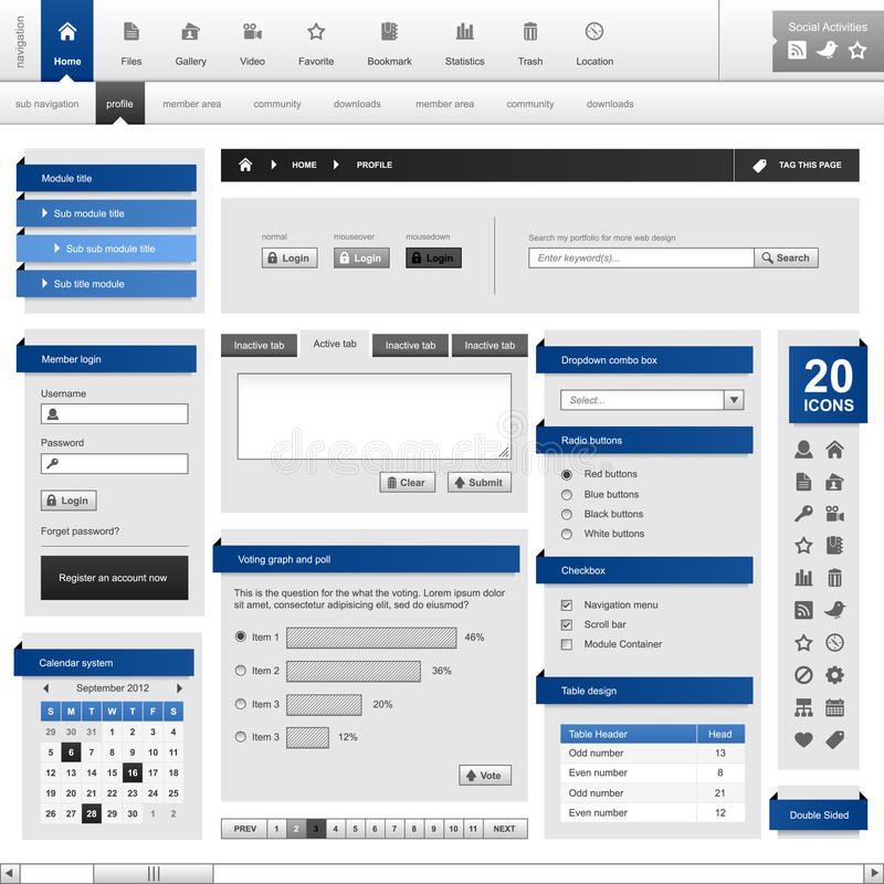 Web-site-Element-Auslegung-Schablone Vect lizenzfreie abbildung