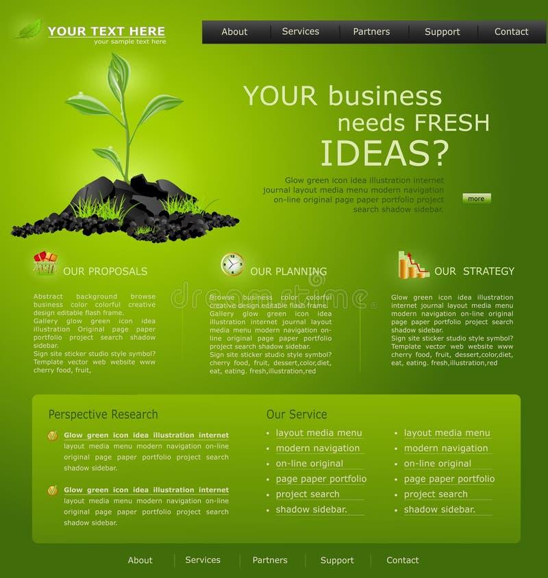 Web site für Geschäft. Grün mit grünem Sprössling lizenzfreie abbildung