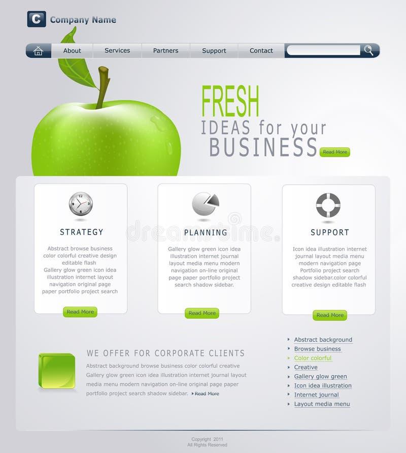 Web site Gris-verde del vector con la manzana ilustración del vector