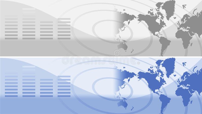 Web site header. Graphics with map royalty free illustration