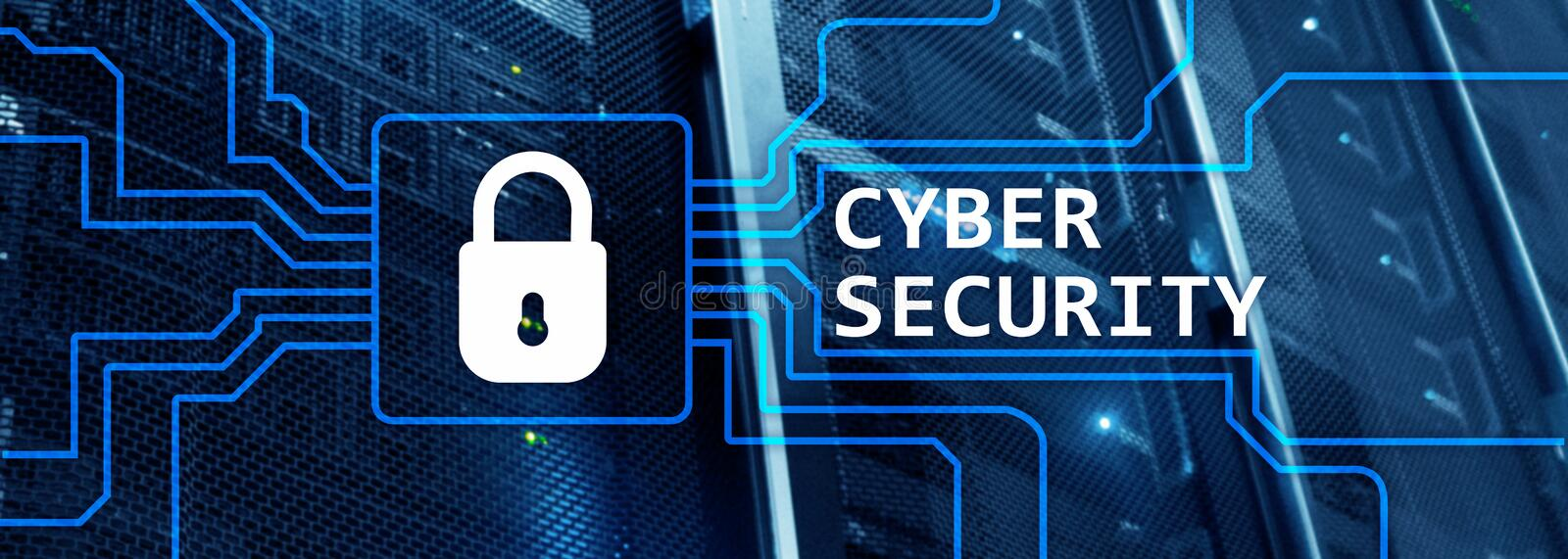 Web site header. Cyber security, information privacy and data protection concept on server room background.  royalty free stock photo