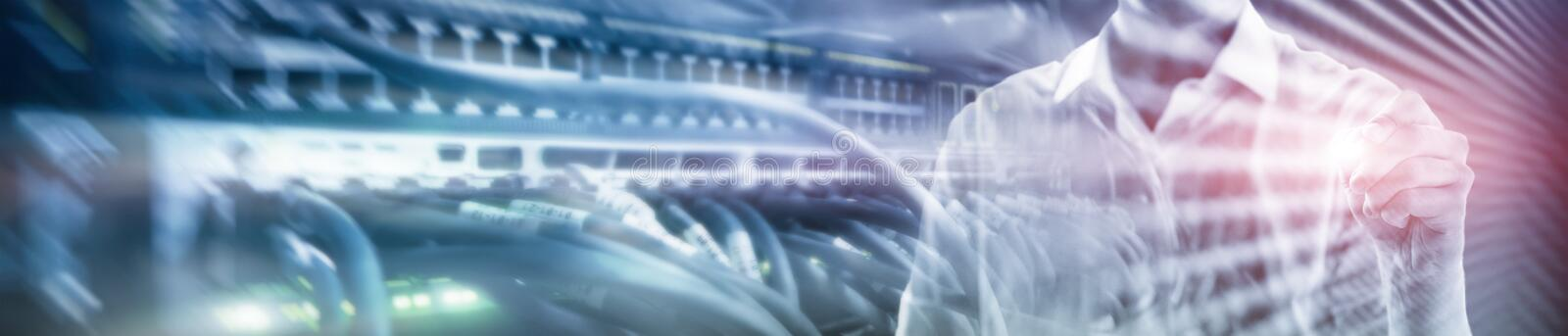 Web site header. Double exposure business people. royalty free stock photography