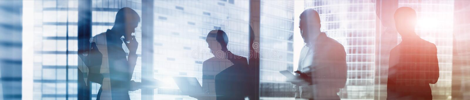 Web site header. Double exposure business people. royalty free stock photo