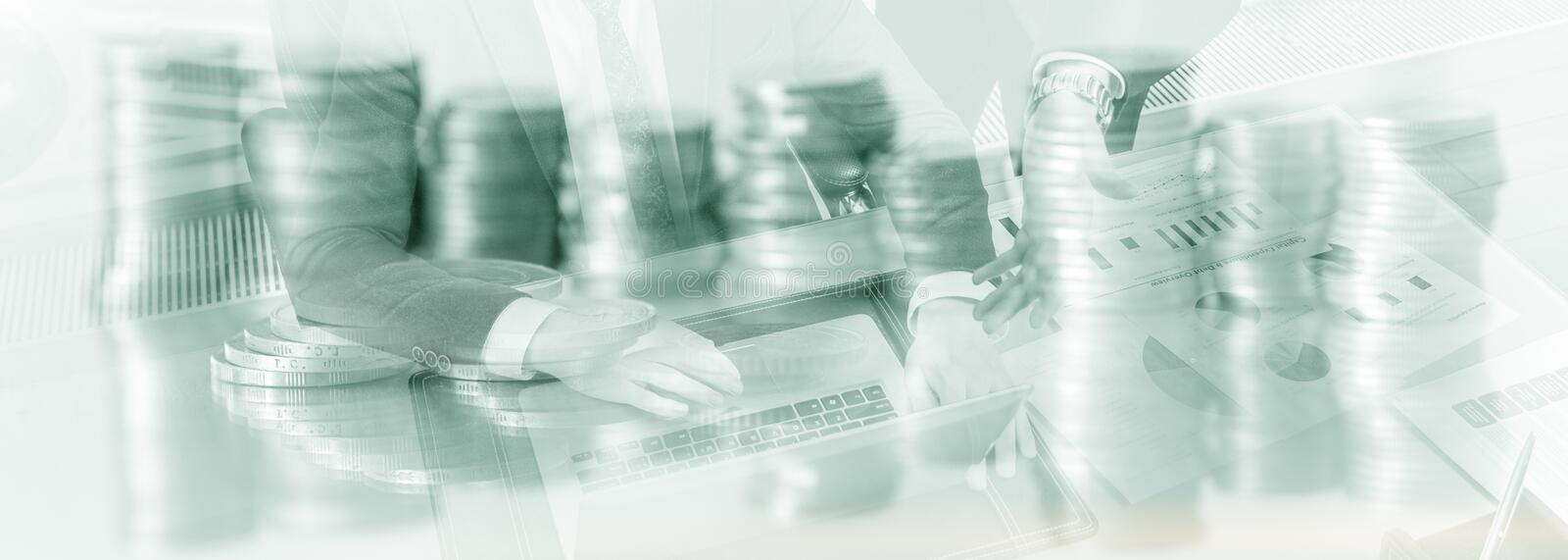Web site header. Double exposure business people. Coins Finace background royalty free stock image