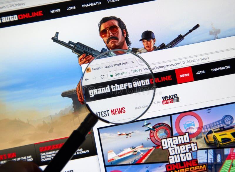 Web site home em linha de Grand Theft Auto fotografia de stock