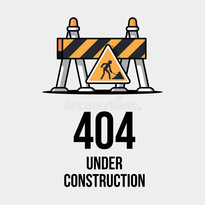 Web site im Bau Fehlerseite des Internets 404 nicht fand Webseitenwartung, Fehler 404, Seite nicht fand Mitteilung vektor abbildung