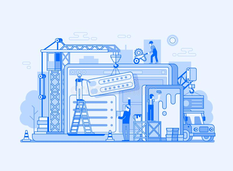 Web Site Interface Building Illustration. Site construction concept UI illustration in flat design. Maintenance page or 404 error. Web developing concept banner stock illustration