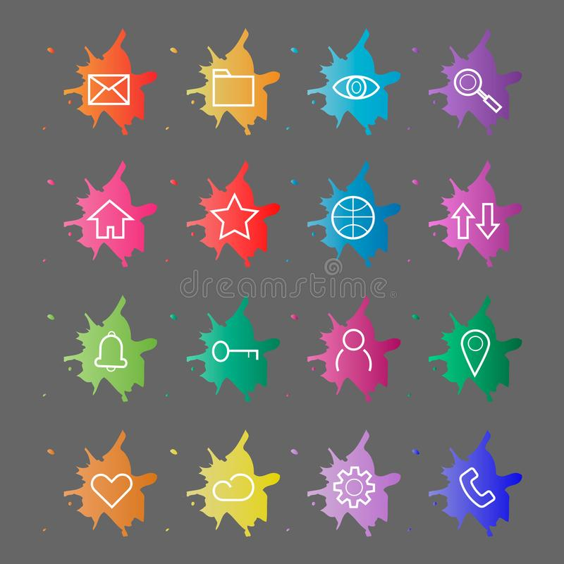 Web Site Internet Icons. Line icons on a background of blots of paint vector illustration
