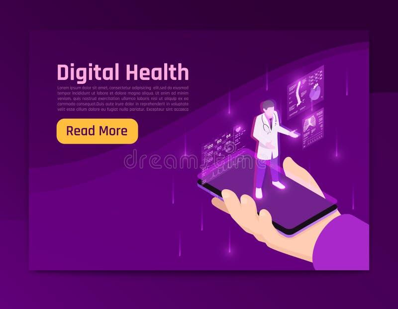 Web site isométrico da saúde de Digitas ilustração do vetor
