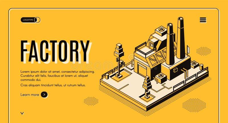 Web site isométrico do vetor da fábrica da indústria pesada ilustração royalty free