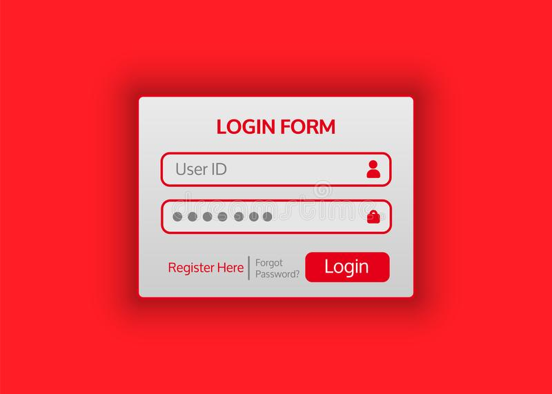 Web site login form. Vector illustration for your projects. Web site login form is flat in style. Vector illustration for your projects royalty free illustration