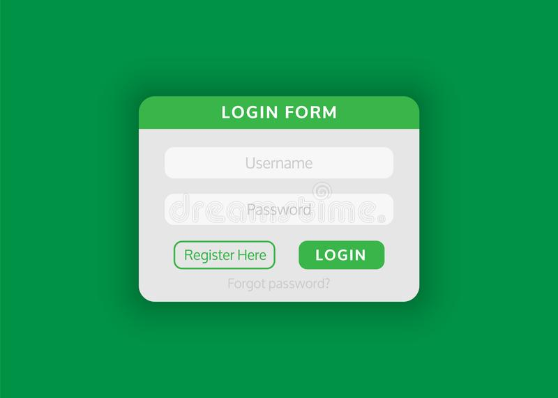 Web site login form. Vector illustration for your projects. Web site login form is flat in style. Vector illustration for your projects vector illustration