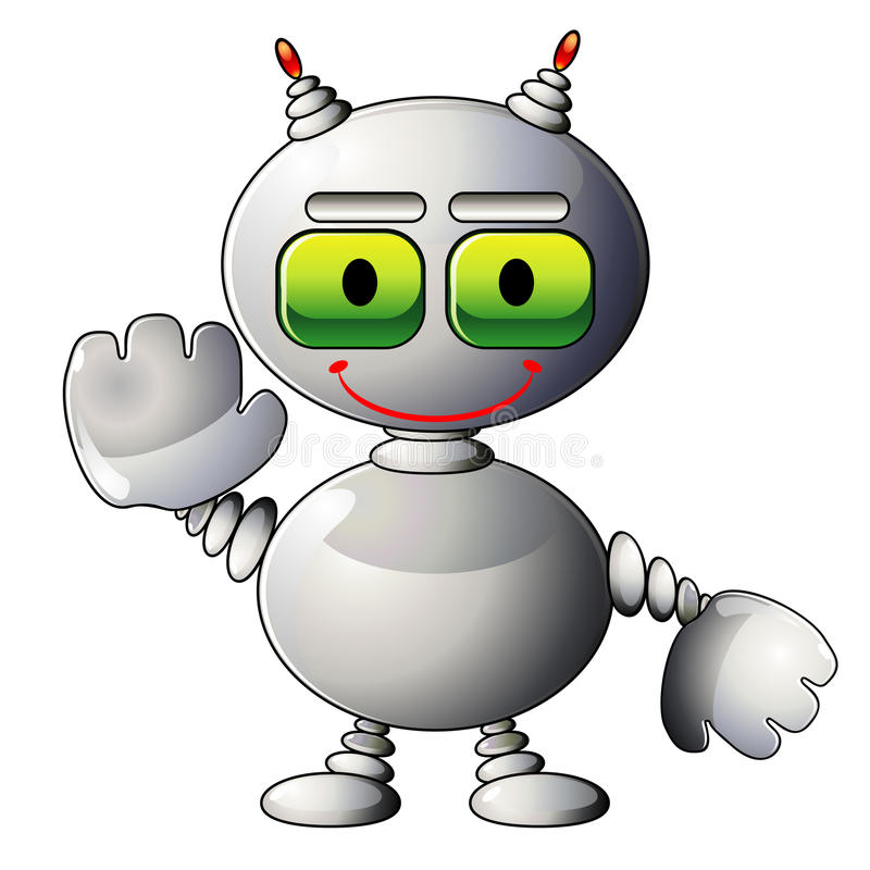 Web site mascot. Smiling silver robot as mascot for web site vector illustration