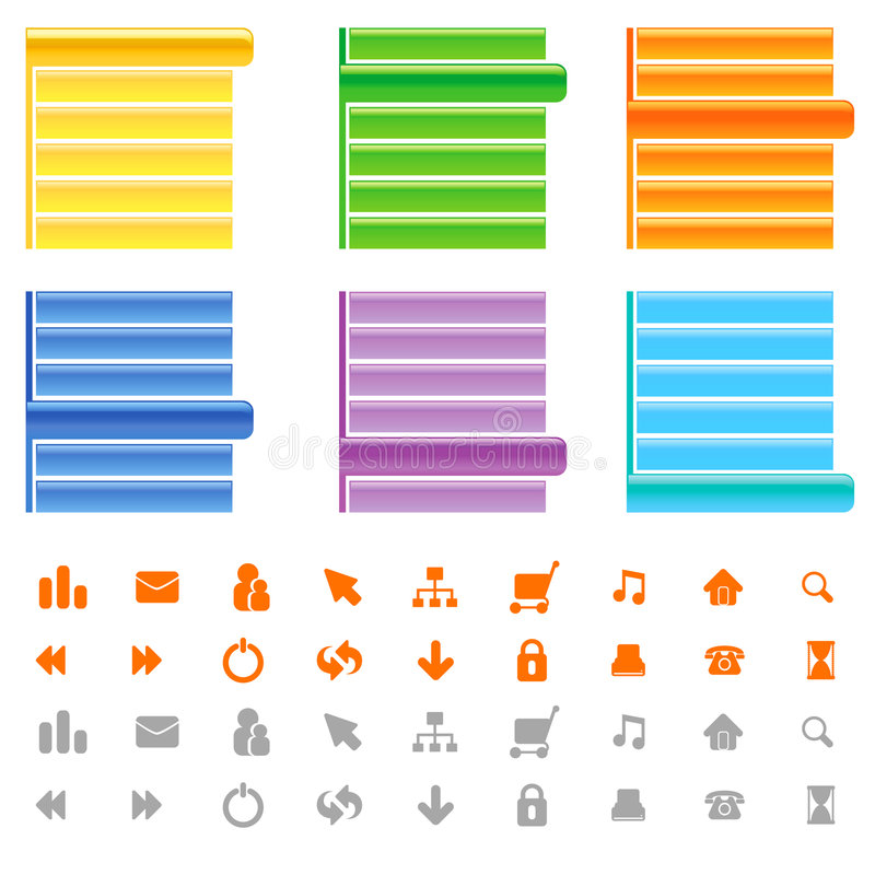 Web site menu and icon set. Vector stock illustration