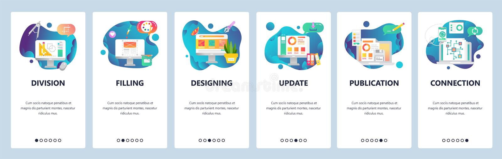 Web site onboarding screens. Art, design and drawing tools. Chart, computer chip. Menu vector banner template for. Web site onboarding screens. Art, design and stock illustration