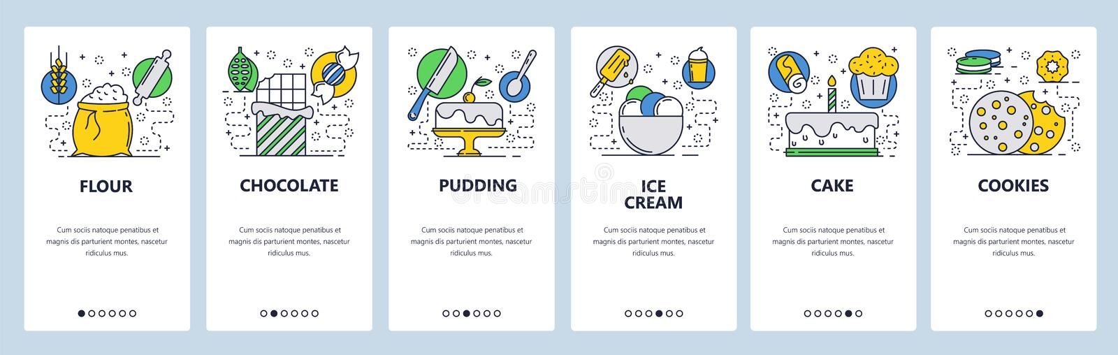 Web site onboarding screens. Bakery shop with sweet deserts. Menu vector banner template for website and mobile app. Development. Modern design linear art flat stock illustration