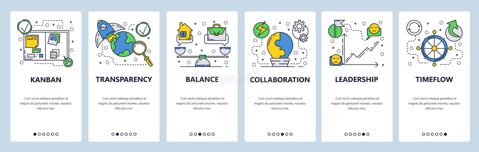 Web site onboarding screens. Business management, home work balance and collaboration. Menu vector banner template for. Website and mobile app development stock illustration