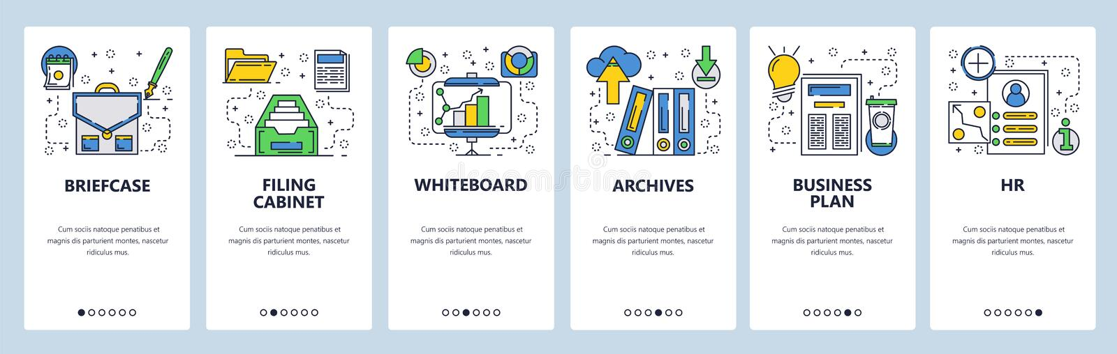 Web site onboarding screens. Business management and office interior supplies. Menu vector banner template for website. And mobile app development. Modern royalty free illustration