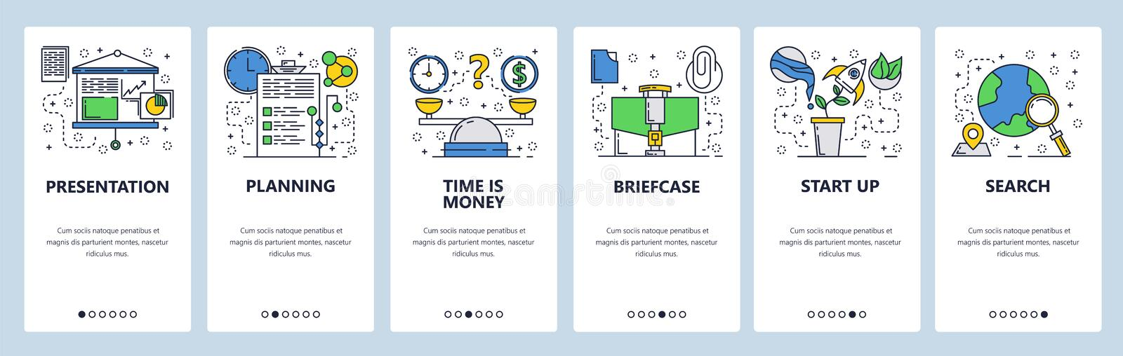Web site onboarding screens. Business presentation and planing. Time is money concept. Menu vector banner template for. Website and mobile app development stock illustration