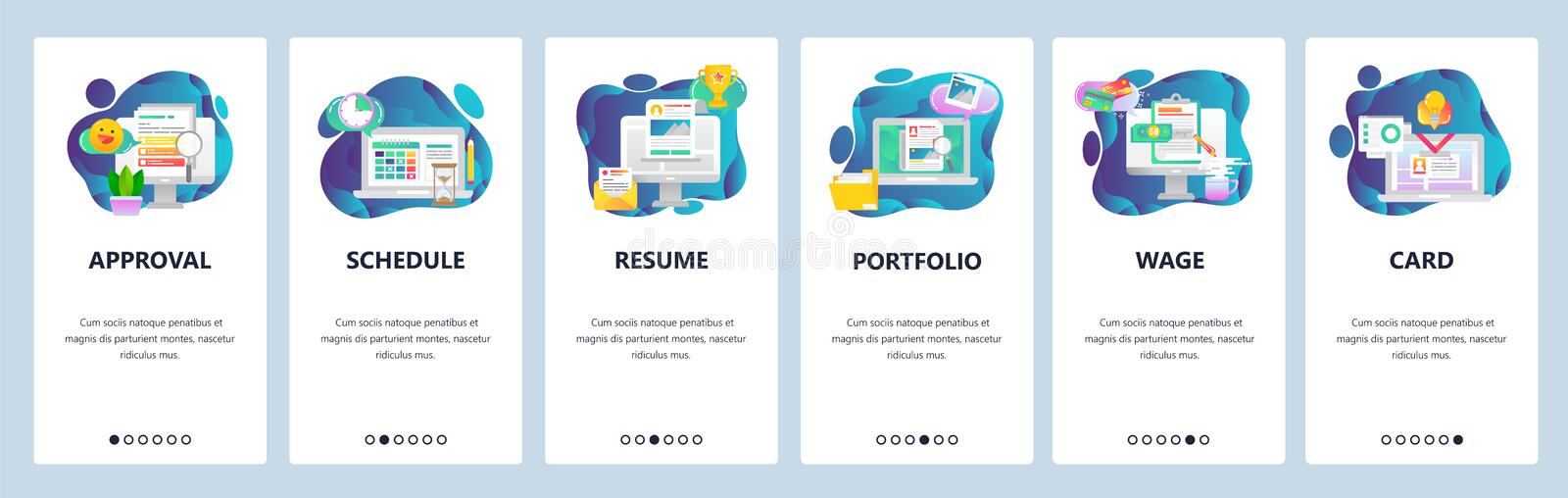 Web site onboarding screens. Business tasks management, CV and portfolio, access card. Menu vector banner template for vector illustration