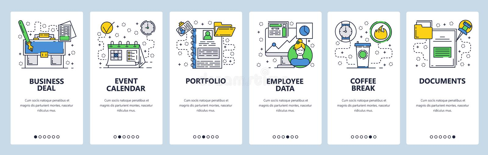 Web site onboarding screens. Bussiness and office icons set. Menu vector banner template for website and mobile app vector illustration