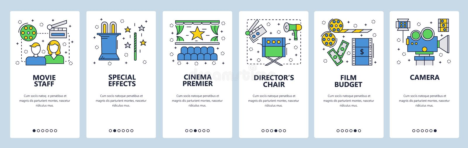 Web site onboarding screens. Cinema and movie industry icons. Menu vector banner template for website and mobile app royalty free illustration