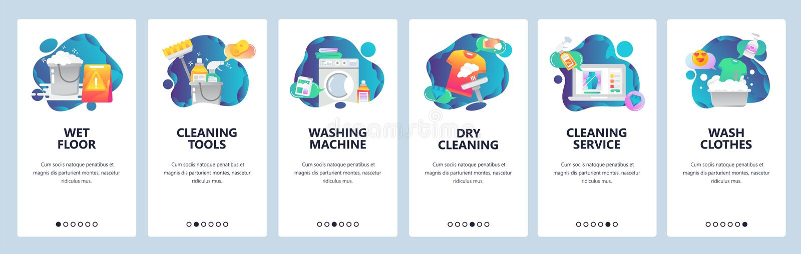 Web site onboarding screens. Cleaning, floor, washing clothes and dry laundry. Menu vector banner template for website. And mobile app development. Modern vector illustration