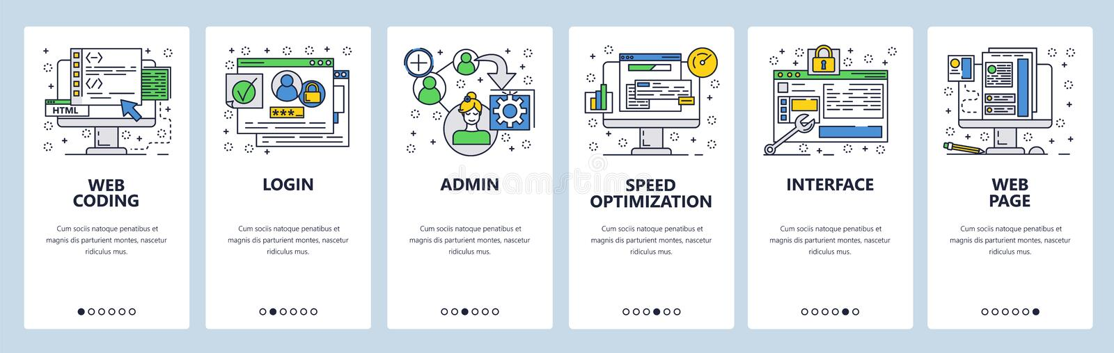 Web site onboarding screens. Coding interface and secure login. Menu vector banner template for website and mobile app royalty free illustration