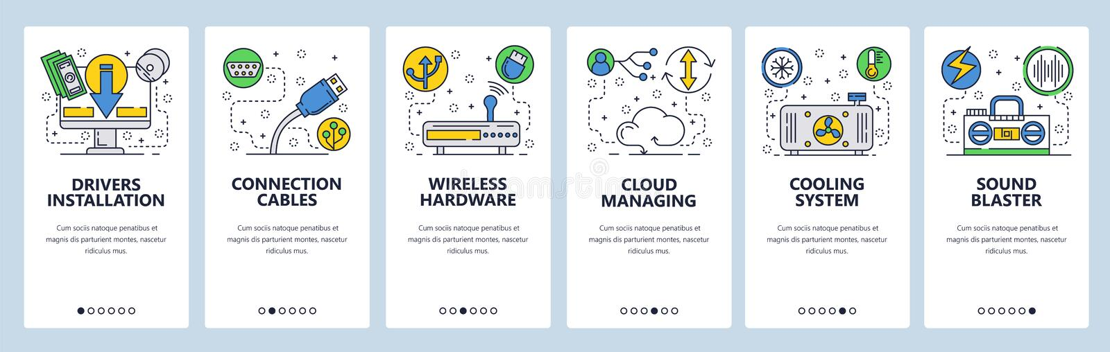 Web site onboarding screens. Computer hardware, cloud services, wireless network and cooling system. Menu vector banner royalty free illustration
