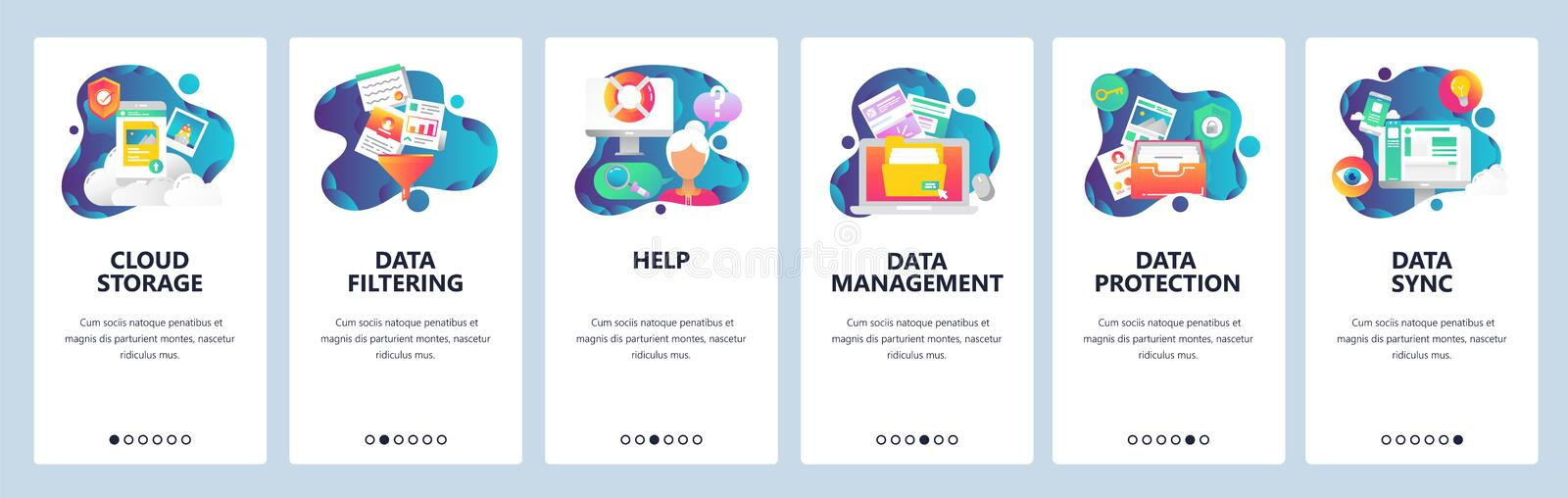 Web site onboarding screens. Computer and internet services, cloud storage and data sync. Menu vector banner template vector illustration