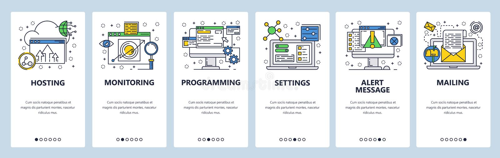 Web site onboarding screens. Computer and internet services, coding. Menu vector banner template for website and mobile. App development. Modern design linear vector illustration