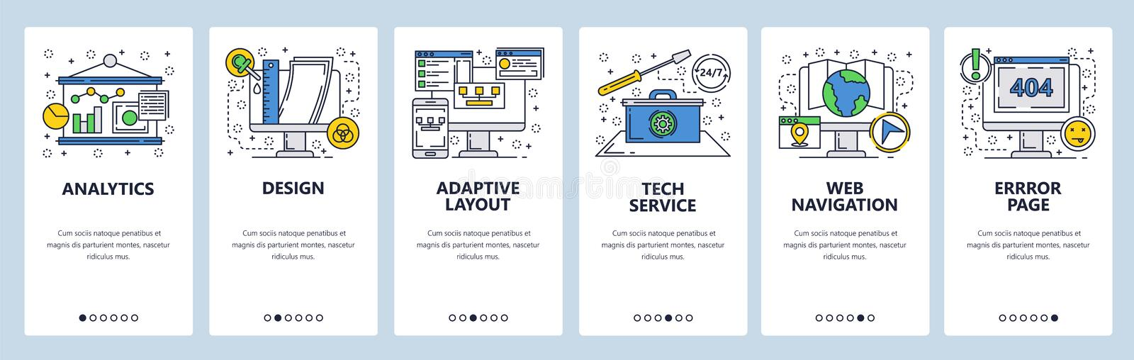 Web site onboarding screens. Computer tech service, error page, adaptive layout. Menu vector banner template for website royalty free illustration