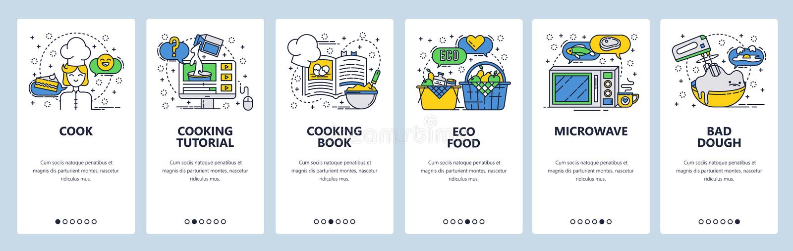 Web site onboarding screens. Cooking book and online recipe, organic food. Menu vector banner template for website and. Mobile app development. Modern design stock illustration