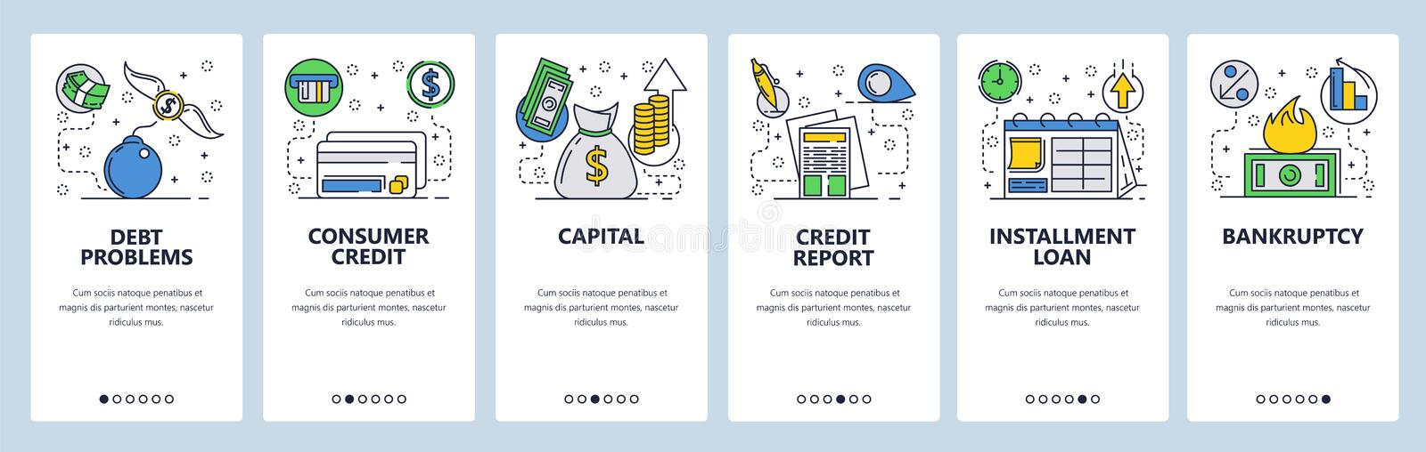 Web site onboarding screens. Credit card and debt problems. Consumer loans and banking system. Menu vector banner. Template for website and mobile app stock illustration