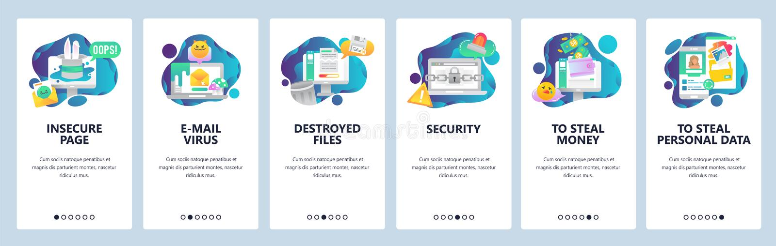 Web site onboarding screens. Cyber security and hacker attack. Email virus and stealing of personal data. Menu vector. Banner template for website and mobile stock illustration