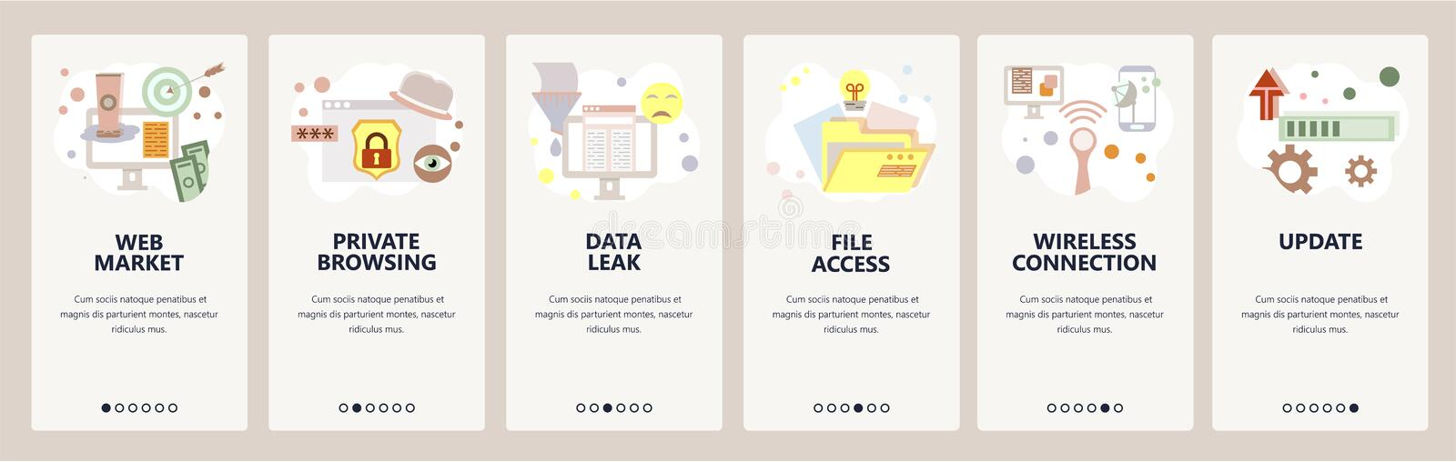 Web site onboarding screens. Cyber security and internet secure access. Privacy and data leak. Menu vector banner. Template for website and mobile app vector illustration